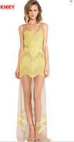 Sexy Club Dress 2014 Europe And The United States Style Sexy Lace Dresses Yellow Perspective Sleeveless Dresses Free Shipping