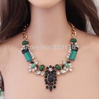 2014 Latest Europe new explosive luxury gorgeous emerald necklace  fashion women  necklaces