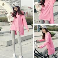 2014 autumn new Women Korean side zipper loose long-sleeved T-shirt bottoming shirt tide thin section