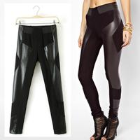2014 New Vintage Women Trendy Winter Leather Patchwork Slim Thin Elastic Waist Pencil Skinny Pants Trousers Legging