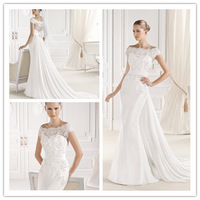 Lovely Mermaid Floor Length Court train Scalloped Neckline Off the Shoulder Appliques Chiffon Wedding Dresses