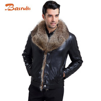 2014 Mens  Leather Jackets Fur Lined Leather Jacket Mens Brand sheepskin Man Coat Hooded Jackets