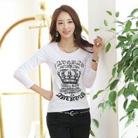 2014 Hitz Korean Women Slim thin t-shirt round neck long-sleeved shirt