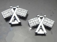 Wholesale 100pcs/lot 10mm rhinestones Banner slide charm fit for 10mm diy key chain can through 10mm band