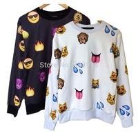 Raisevern Hot fashion Emoji sweater Women/Men Network expression printed sweatshirt hoodies cute cartoon clothes black & white
