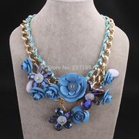 New Arrive Luxury Necklace Pendant Metal Bubble Statement Choker Multicolour Flower Chunky Bib
