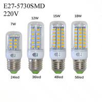 E27 SMD5730 LED Corn Lamps 24Led 36Led 48Led 56Led LED Bulb Light 7w 12w 15w 18w Wall Downlight Pendant High Bright 1Pcs/Lot