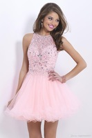 SSJ 2014 Blush Inspired Pink Tulle Short Homecoming Dresses Beaded Prom Gown A-Line Crew Beaded Pleated Shiny Graduation Dresses