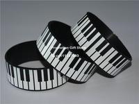 "Printed Piano Keys Wristband, Full Keyboard Bracelet for Music Fan, 1"" Wide Band, Adult, Black, 50pcs/Lot, Free Shipping"