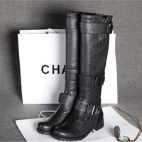 Euro Style Genuine Leather Winter Buckle Decoration Women Boots,Woman Knee Boots,Outdoot Motocycle Knight Ridding Booty