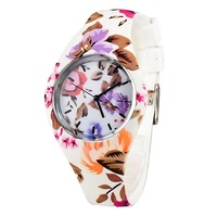 V6 Fashion Leisure Flower Pattern Soft Silicone Strap Students' Wrist Watch Quartz