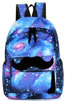 Cool Fancy Blue Colorful Starry Sky Stars Mustache Laptop Book Travel Backpack Fashion Women Girl Boy School Double Shoulder Bag