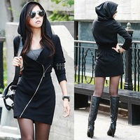 Sexy Winter Autumn Hooded Dresses Women Casual Sexy Hooded Coat Black Dress Vestidos SV005850