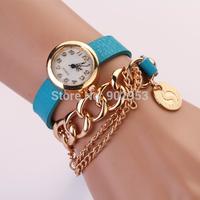 100PCS/lot 7 Colors Leather Retro Vintage PUNK Pendant Weave Wrap Quartz Wrist Watch  Dresses Ladies Watches