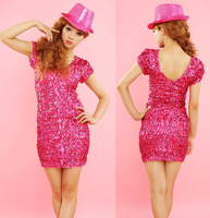 European style sex v-neck bling bling nightclub dress evening  tight package hip sequins show dress TM09LS
