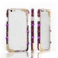 For Apple iPhone 6 6 Plus 5 5S 5C 4S Bling Handmade Purple Crystal Punk Style Metal Skull Bumper Frame Case