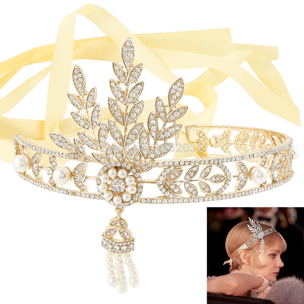 The Great Gatsby Inspired 18K GP Gold Flower Pearl Ribbon Hair Tiara Headband Crown Austrian Crystal Bridal Bridesmaids(China (Mainland))