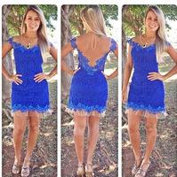 2014 new vestidos femininos sexy backless mesh stitching blue casual dress fashion lace dress party dress women summer dress
