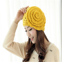 Floral Pattern Autumn And Winter Women's Knitted Hat + free shipping