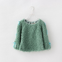 Toddler Baby Girls Fashion Solid Sweater Full Sleeve For 2014 Autumn Casual Bow Coat Children High Quality Clothing 5pcs/LOT
