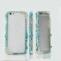 For Apple iPhone 6 6 Plus 5 5S 5C 4S Bling Handmade Blue Crystal Punk Style Metal Skull Bumper Frame Case