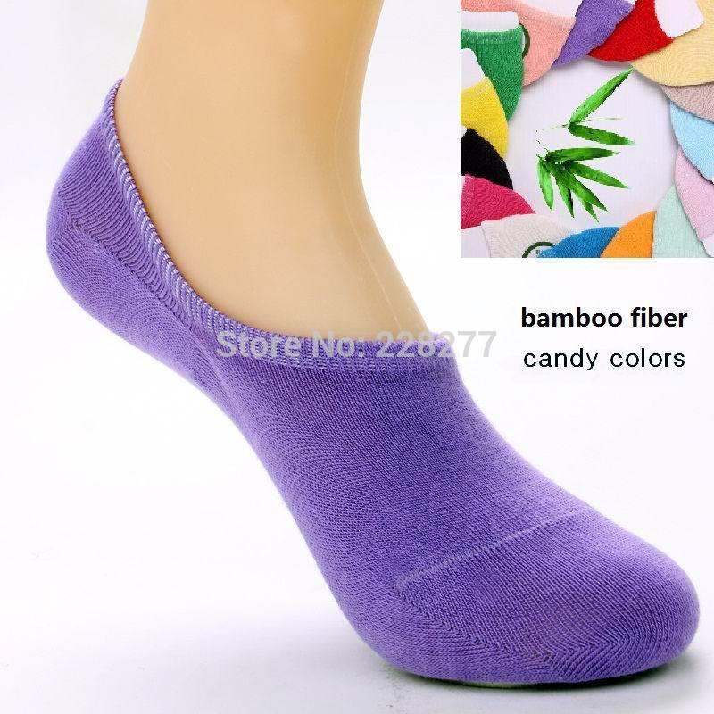 Free Shipping 14pcs=7 pairs/lot Bamboo fiber Womens candy colors invisible Socks, anti- slip, cheap and good qualtiy(China (Mainland))