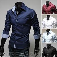 2014 men's fashion shirt men solid color shirts Autumn Spring men's shirt long-sleeved Casual Shirts men 5 color plus size 3XL