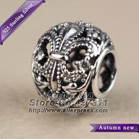 NEW S925 Sterling Silver Fleur-De-Lis with Clear CZ Charm Beads Fit European Women Jewelry Bracelets & Necklaces Pendant CB359