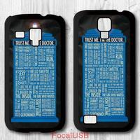 5 pcs For Samsung Galaxy S4 mini / S3 mini , Doctor Who Tardis Police Box Quotes Cover Case P623(White: S4, Black: S3)