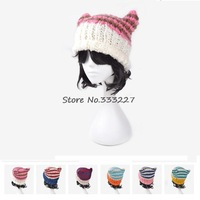New Arrival 2014 Women's Hats Stripes Demons Ears Crochet Fashion Beanie Hat Hip-Hop Knitted Caps Warm Women Beanies Wool Cap