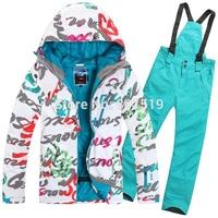 free shipping 2014 women's ski suit Colorful Letters snowboarding jacket +pants waterproof breathable ski jacket+pants
