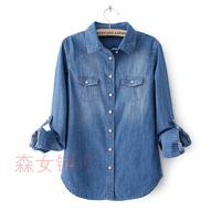 2014 spring long-sleeve women's denim shirt mm shirt outerwear water wash wearing white plus size XXXL 14101405