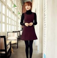 2014 Korean version of the influx of new women's autumn Houndstooth big yards thick woolen Slim sleeveless vest skirt