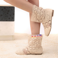 2014 cutout knitted boots princess boots summer boots single shoes multicolor Send Heighten