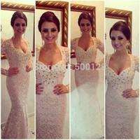 2014 Vestido de noche Winter Evening Dresses Sweetheart Full Long Sleeve Floor Length Rhinestone Beads Lace Mermaid Prom Gown