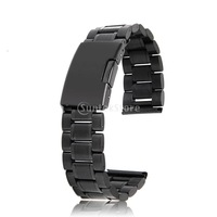 New 2014 Brand New Black Solid Stainless Steel Links Watch Band Strap Straight End Deployment Buckle 18mm Free Shipping