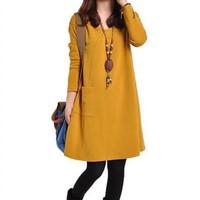 2014 new winter fertilizer to increase the fat mm size women dress Korean version was thin woolen skirt bottoming female