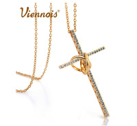 New arrive 18k gold plated Pierced hollow Cross long chain necklace Viennois jewelry Accessories wholesale (UVOGUE UN0166)