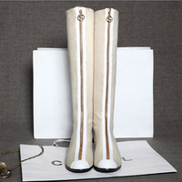 Euro Style Knee-High Boots Womens Winter Boots Stretch Cloth T-stage Ladies Booty Elastic Long Tall Motocycle Kngith Boots