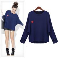 L-5XL 2014 Spring Autumn Ladies Fashion Plus Size XXXL 4XL Heart-shaped Cotton Loose T-shirt Batwing sleeve Tops