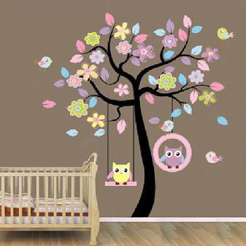 Сова дерево качели наклейки съемный Diy цитата стены дома украшения