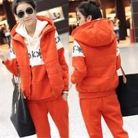 2014 New Fleece Hoodies Sweatshirts Women's Sport Suits Outerwear Sportswear Orange Cotton Tracksuits Women 3 piece set  SV22
