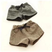 2 Colors 2014 New Autumn Winter Korean Children's Clothing Girls Baby Knit Shorts Bow Plus Thick Velvet Infantil Girls Shorts(China (Mainland))
