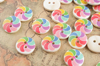 FREE SHIPPING 100PCS 2 Holes Round Wooden Buttons Scrapbooking Sewing Craft 15MM #26506