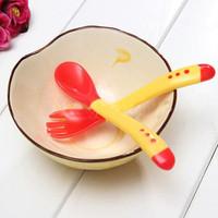 Fashion Universal Safety Temperature Sensing Spoon Baby Flatware Feeding Spoon