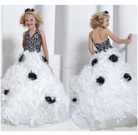 2014 New White/Black Pretty Halter Ball Gown Children Pageant Dress Flowers Long Little Girls' Pageant Gown Princess Dress
