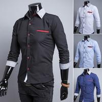 free shipping 2014 hot men's shirts, men's shirts, men's casual fit stylish long-sleeved shirt size: M-XXL 9116