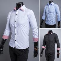 free shipping 2014 hot men's shirts, 3 Colors men's shirts, men's casual fit stylish long-sleeved shirt 9117