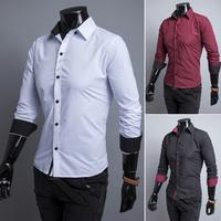 2014 free shipping  hot men's shirts, 3 Colors Men's shirts, men's casual fit stylish long-sleeved shirt 9118