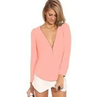 european blouse 2014 elegant shirts for women Zipper Chiffon shirt irregular V-neck long-sleeved shirt